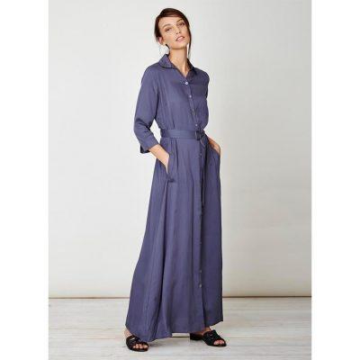 best website 95650 7e35c Thought Kleid Tanami Maxi Shirt Dress Steel