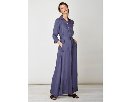 Thought Kleid Tanami Maxi Shirt Dress Steel
