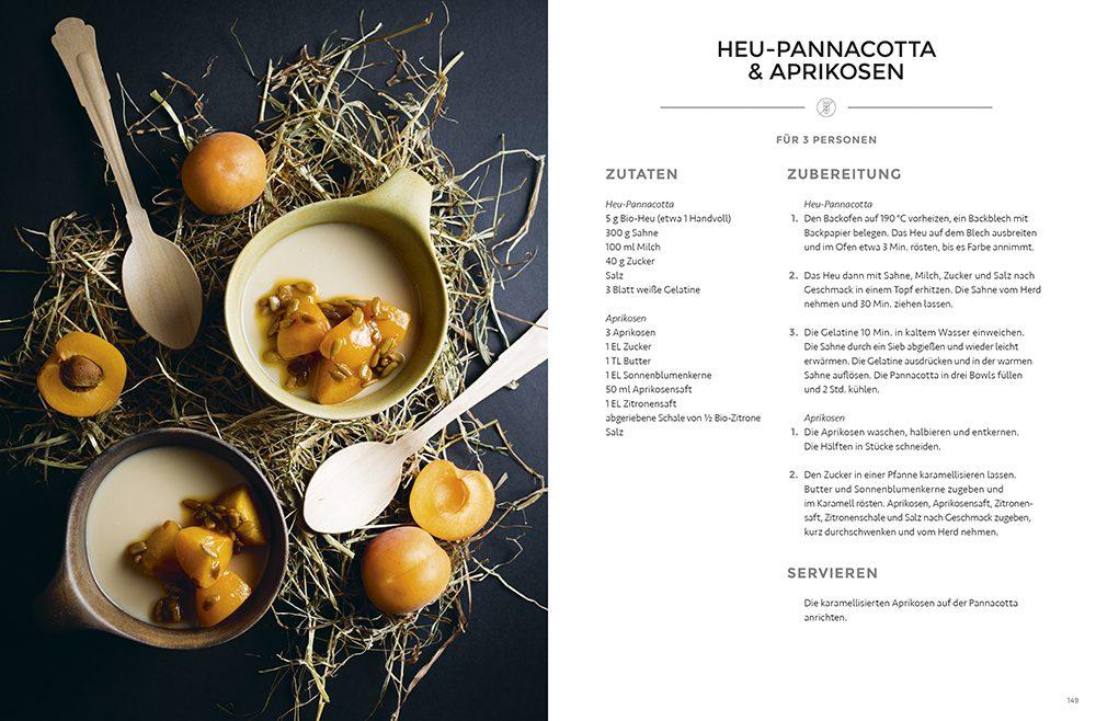 Heu-Pannacotta & Aprikosen