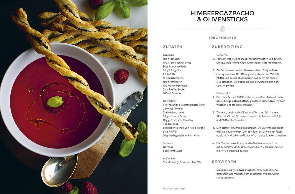 Himbeergazpacho & Olivensticks