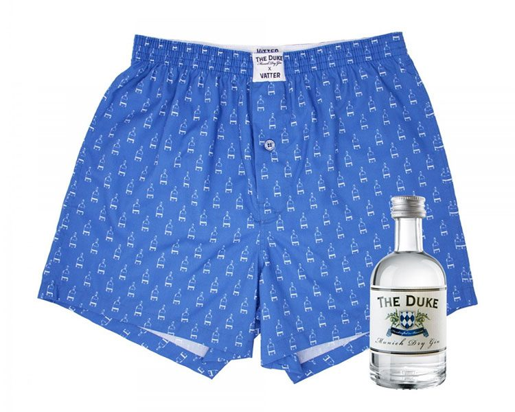 "Limited Edition von Vatter: Boxer Short ""Loose Larry"" (Bio-Baumwolle) The DUKE Bundle mit Gin Flasche (5cl). Um 39 Euro"